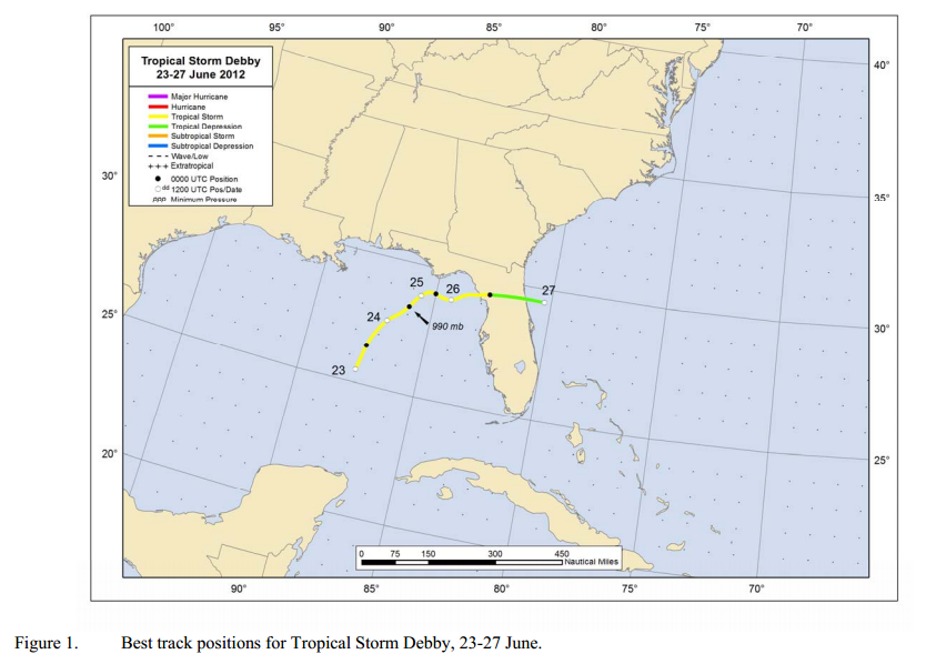 TS Debby track from NOAA